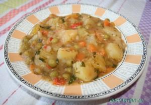 Картошка с зеленым горошком