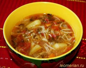 Суп из помидоров и бамией