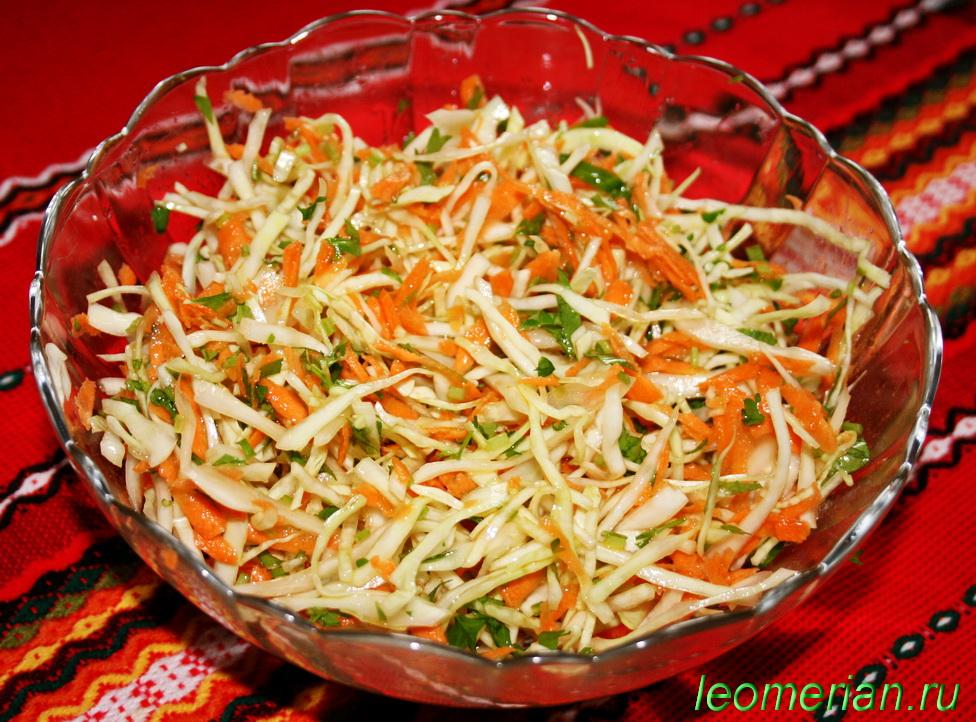 Рецепт салата из белокочанной капусты