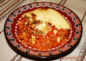 Запеканка с баклажанами и печеным болгарским перцем