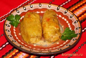 Голубцы из квашеной капусты с фасолью